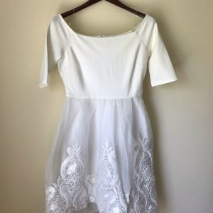 Gianni Bini Embroidered Lace White Dress NWT Med